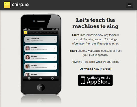 Chirp.io homepage